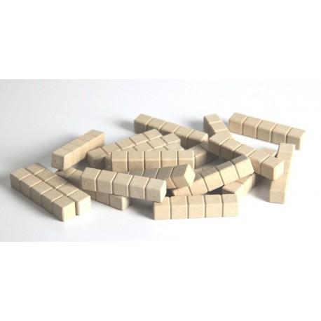 Matériel de numération base 10 en bois recyclé :20 barres de 5 unités