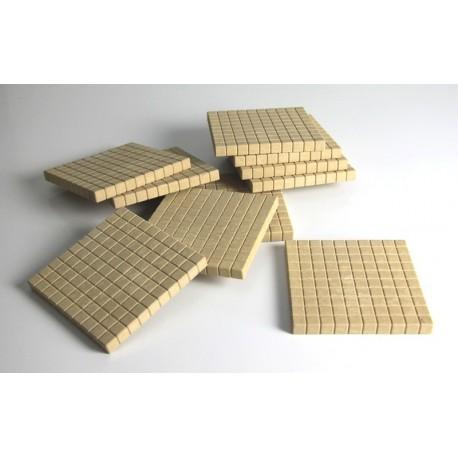 Matériel de numération base 10 en bois recyclé : 5 centaines