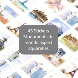 45 Stickers Monuments aquarelles