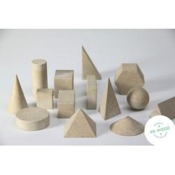Lot de 14 solides en bois recyclé