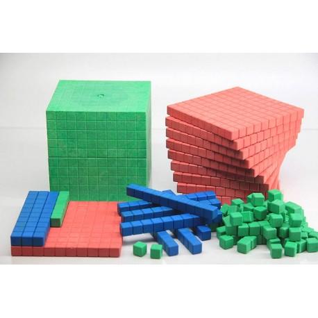 Matériel de numération en bois recyclé, couleurs Montessori