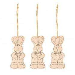 3 lapins en bois à suspendre