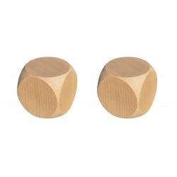 Lot de 2 dés neutres en bois, 18 mm
